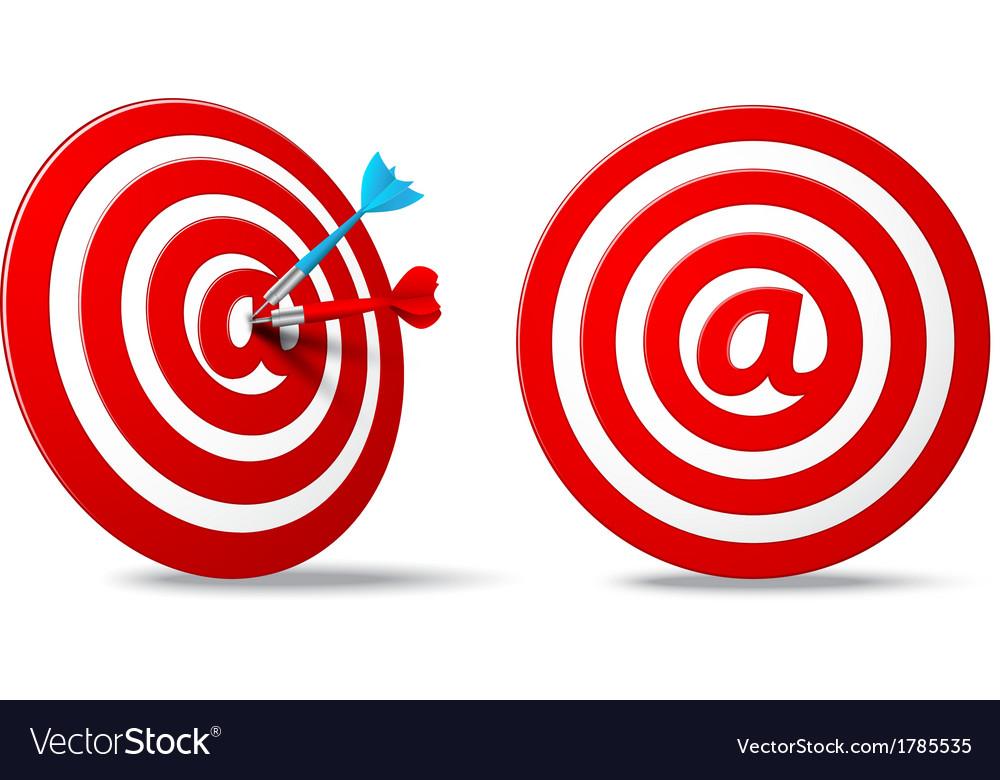 Social media red darts target aim vector | Price: 1 Credit (USD $1)