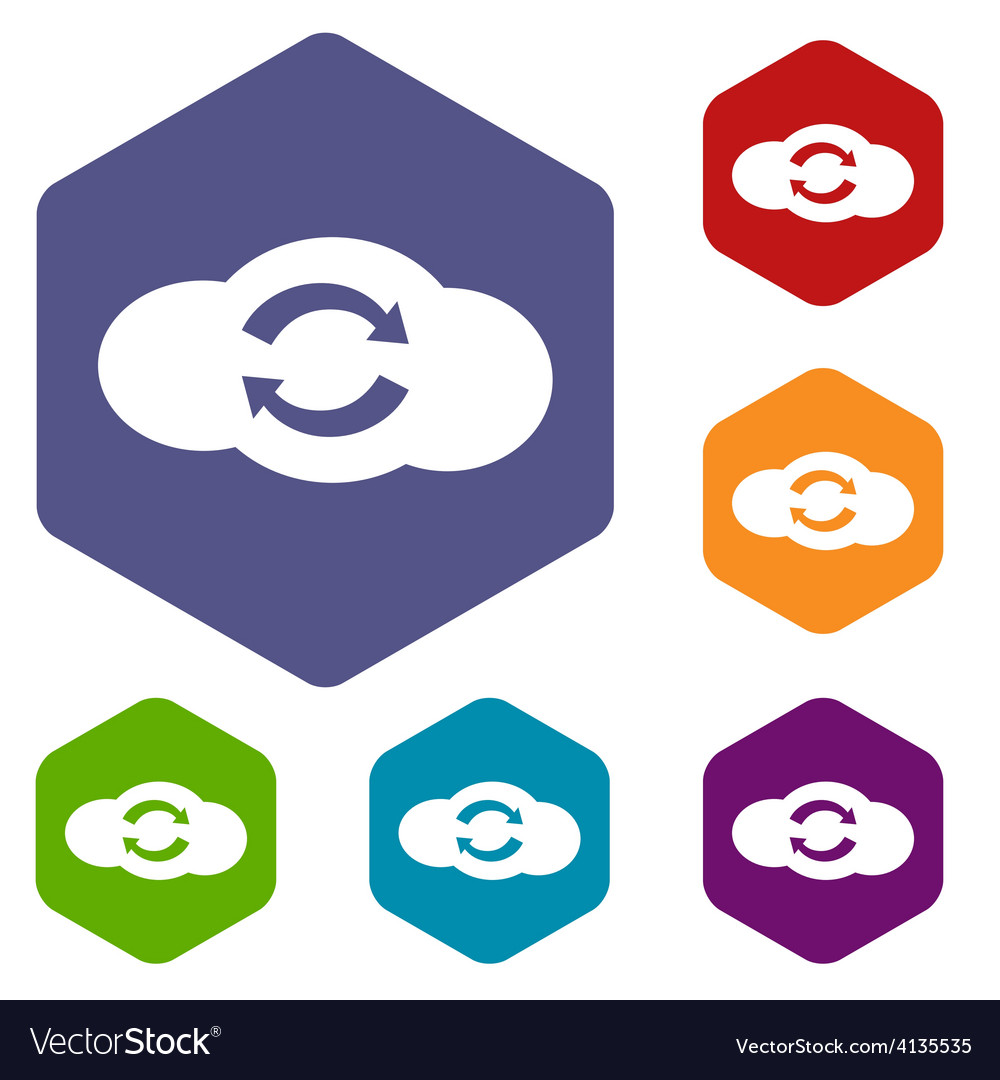 Synchronization cloud rhombus icons vector | Price: 1 Credit (USD $1)