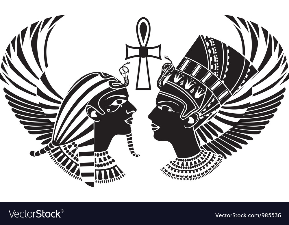 Ancient egypt king and qeen with wings vector | Price: 1 Credit (USD $1)