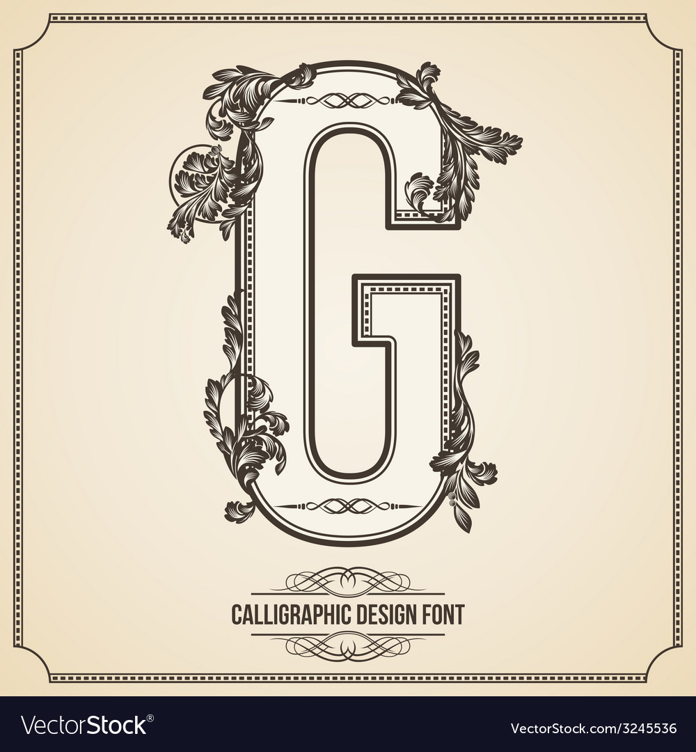 Calligraphic font letter g vector | Price: 1 Credit (USD $1)