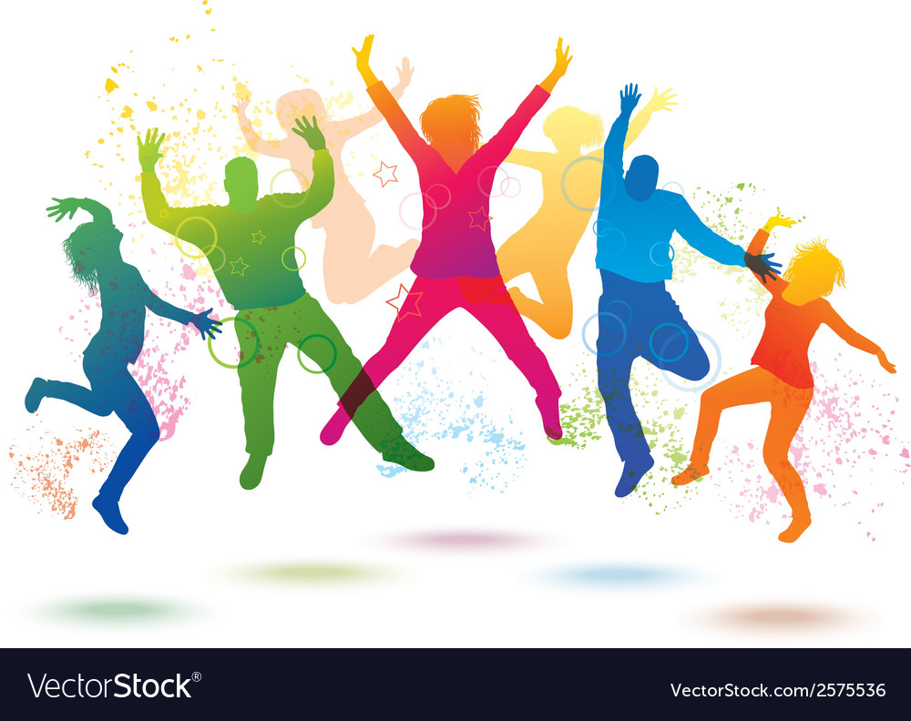Colorful background with dancing people vector | Price: 1 Credit (USD $1)