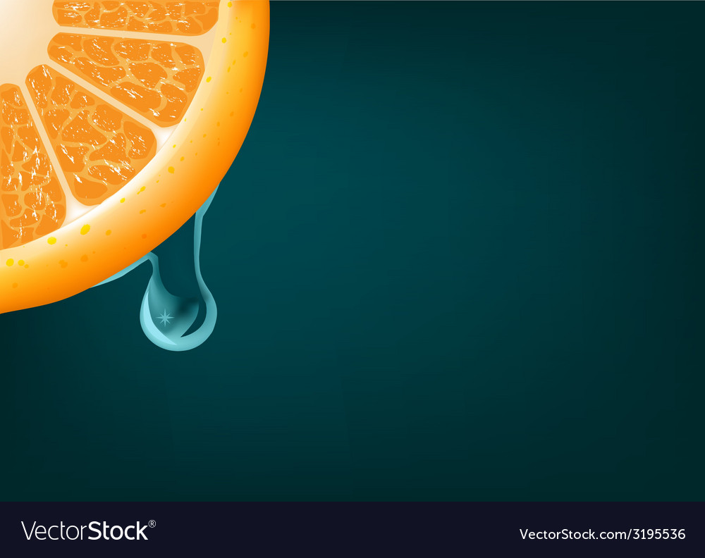 Flowing down drop on an orange segment background vector | Price: 1 Credit (USD $1)