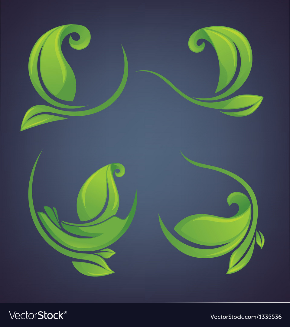 Green leaves forms and frames vector | Price: 1 Credit (USD $1)