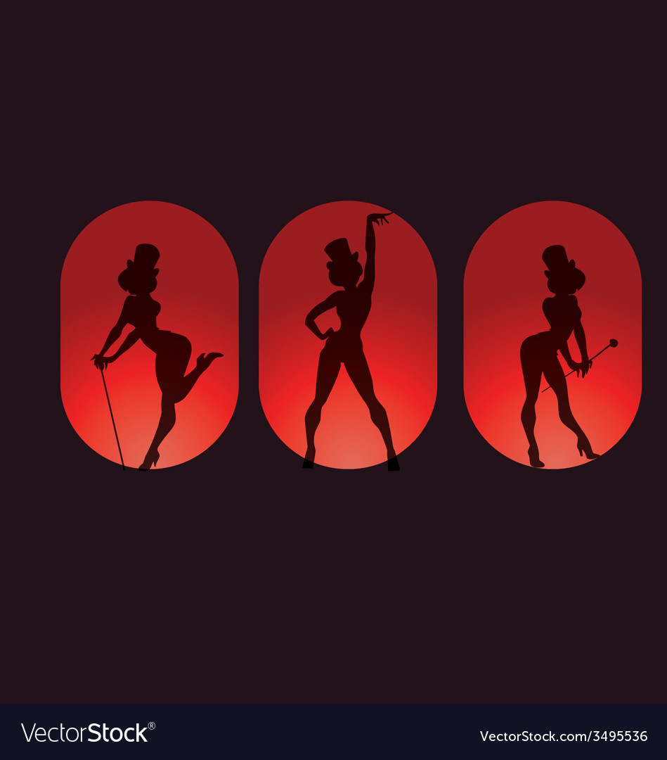 Poster design with silhouette cabaret burlesque vector | Price: 1 Credit (USD $1)