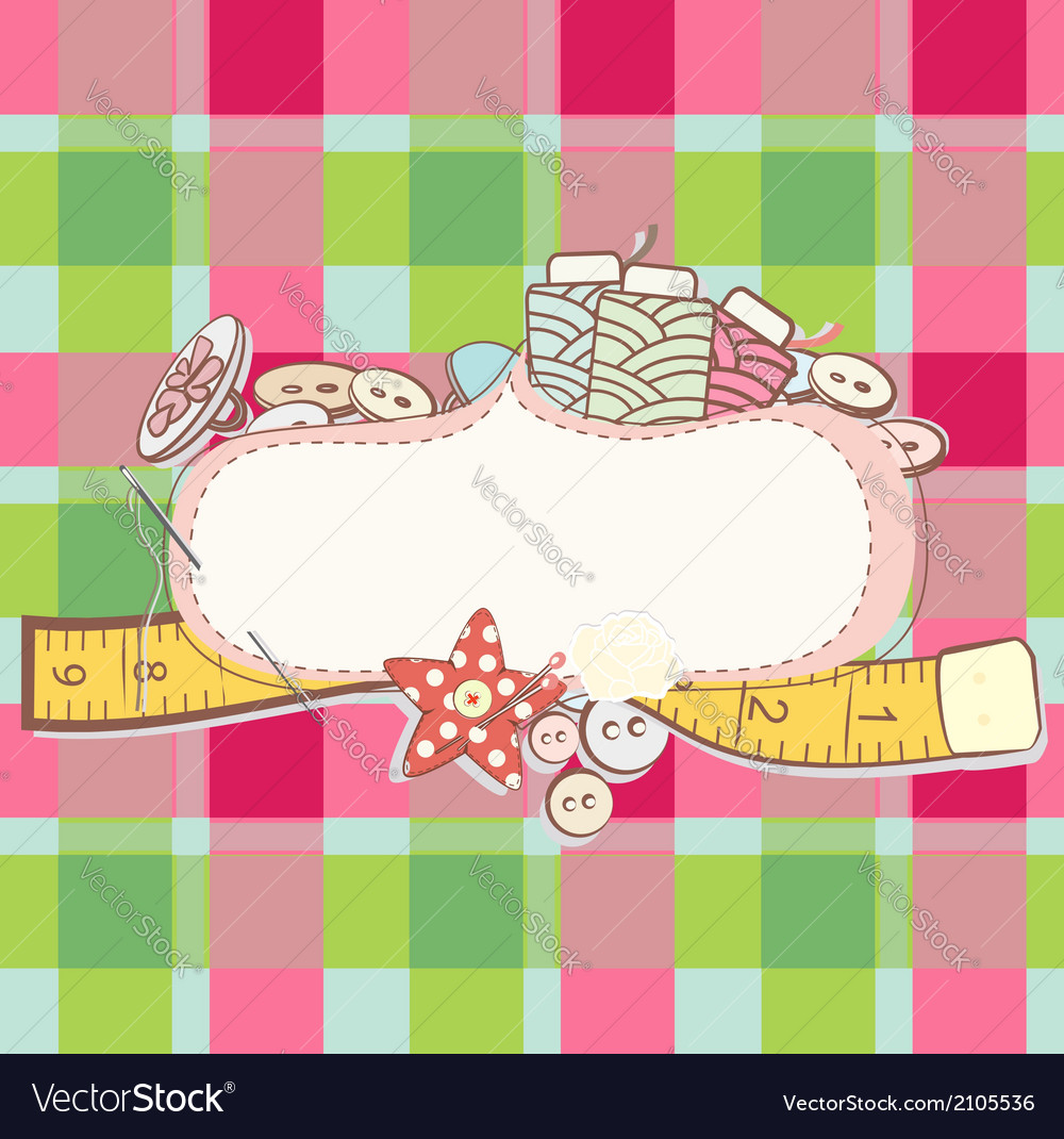 Pretty card with sewing accesories vector | Price: 1 Credit (USD $1)