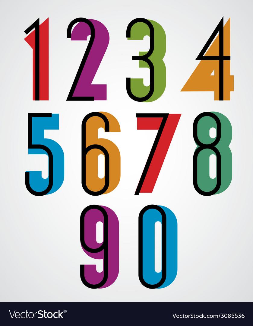 Retro numbers bold condensed numerals set vector   Price: 1 Credit (USD $1)