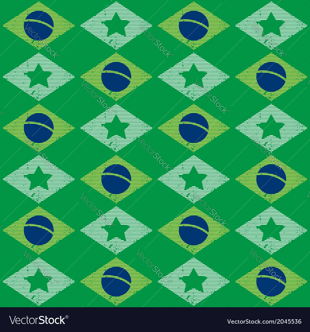 Seamless pattern with brazilian flag vector | Price: 1 Credit (USD $1)