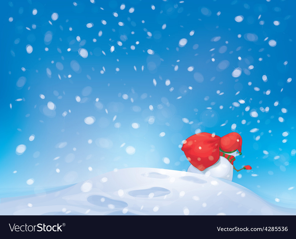 Snowman snowfall vector | Price: 1 Credit (USD $1)