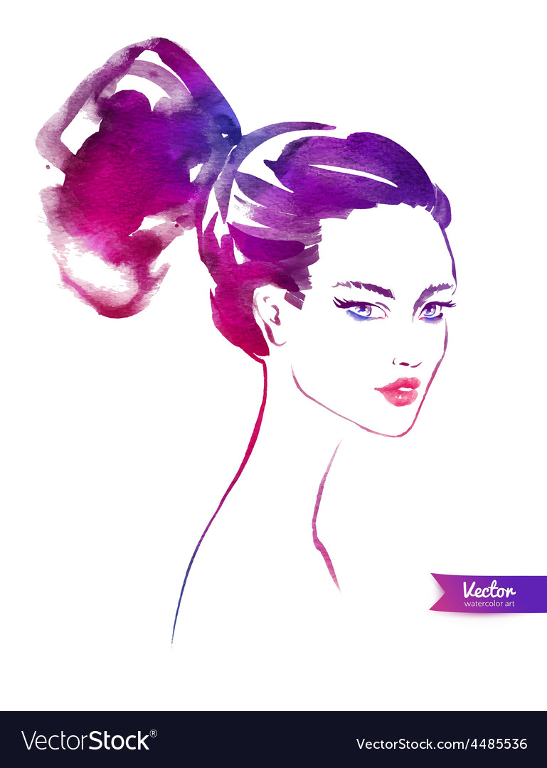 Young woman with modern hairstyle vector | Price: 1 Credit (USD $1)