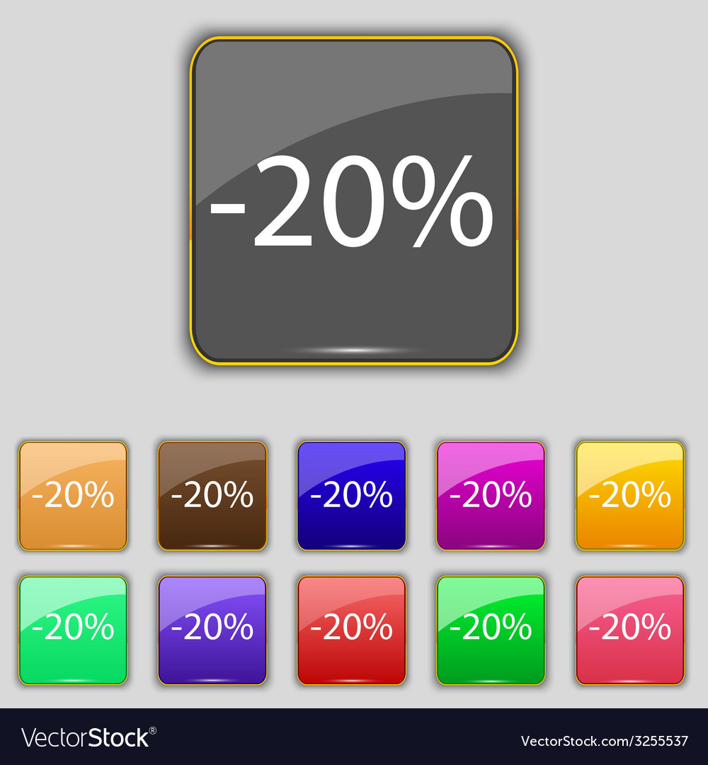 20 percent discount sign icon sale symbol special vector | Price: 1 Credit (USD $1)