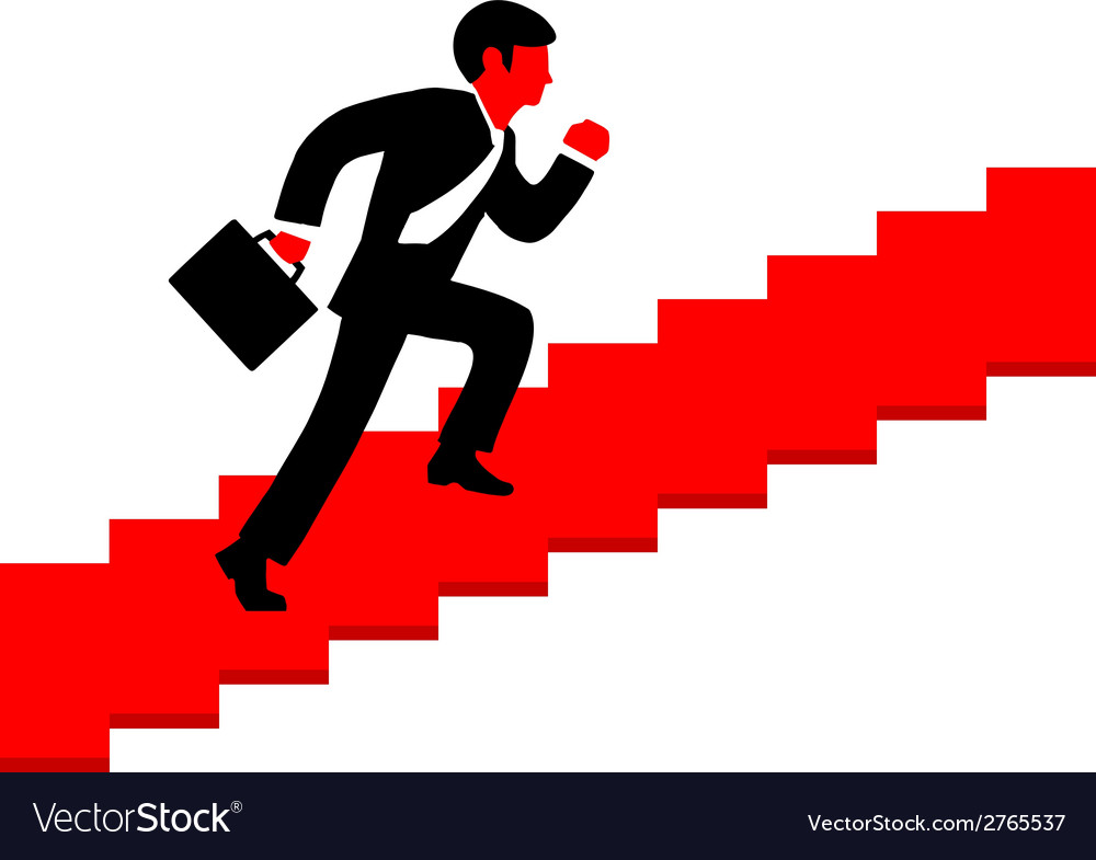 A man running up the stairs with a briefc vector | Price: 1 Credit (USD $1)