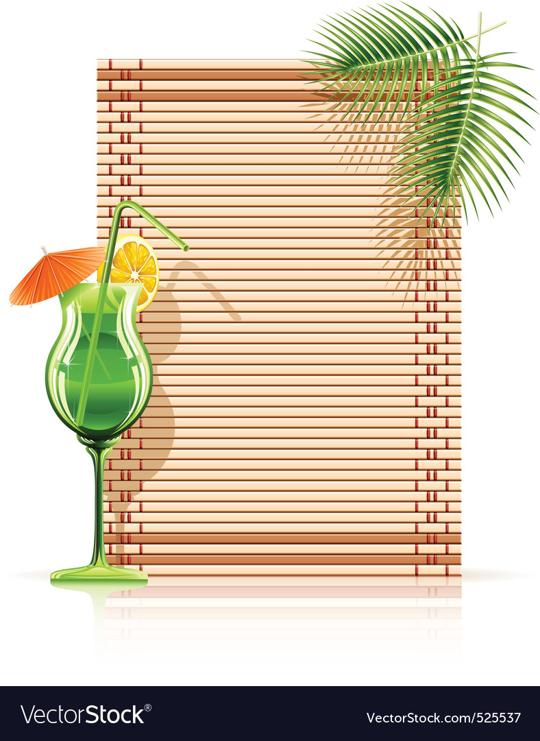 Bamboo mat palm cocktail vector | Price: 3 Credit (USD $3)