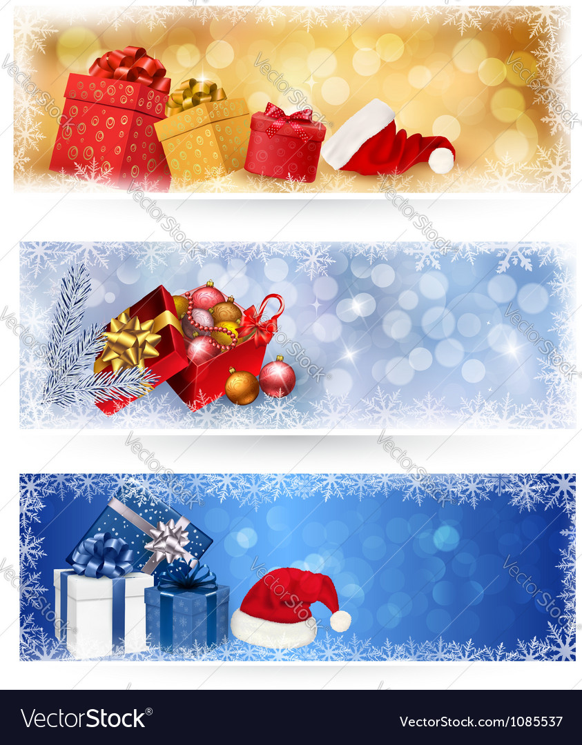 Christmas banners with gift boxes vector | Price: 3 Credit (USD $3)
