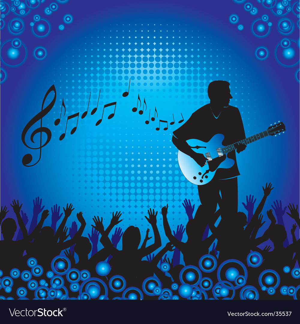 Circles crowd hands guitar vector | Price: 1 Credit (USD $1)