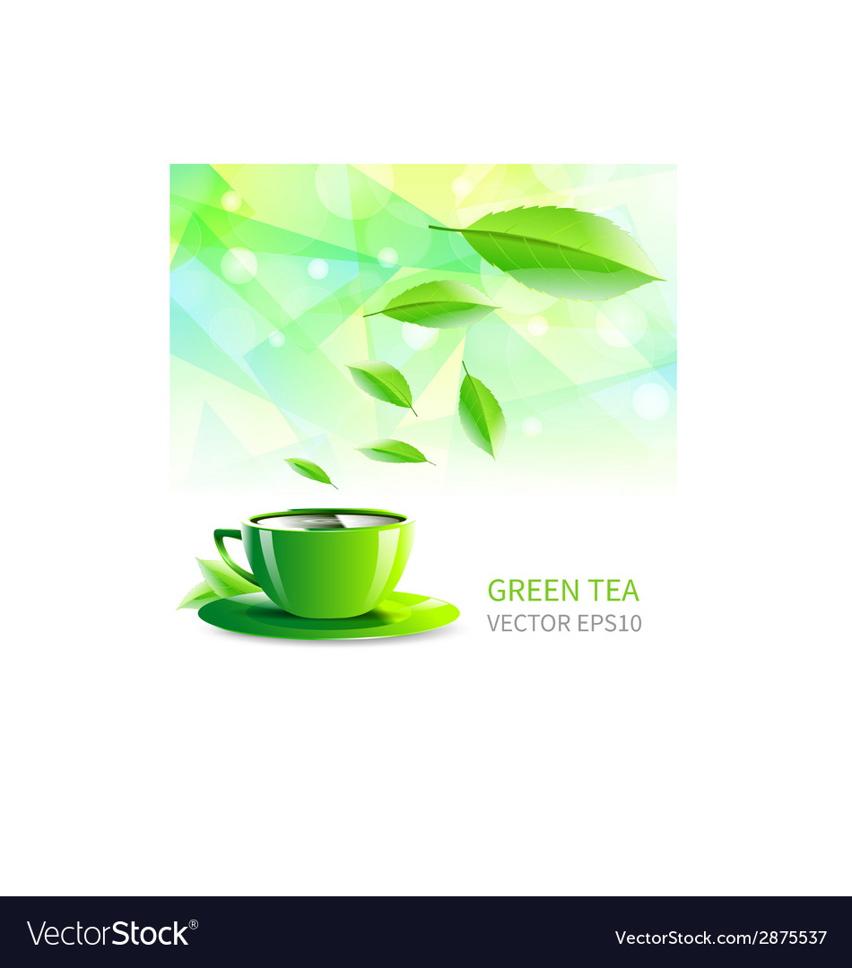 Cup tea falling leaves vector | Price: 1 Credit (USD $1)