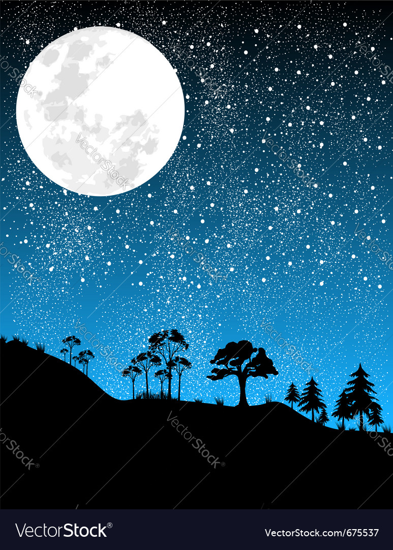Night-moon vector