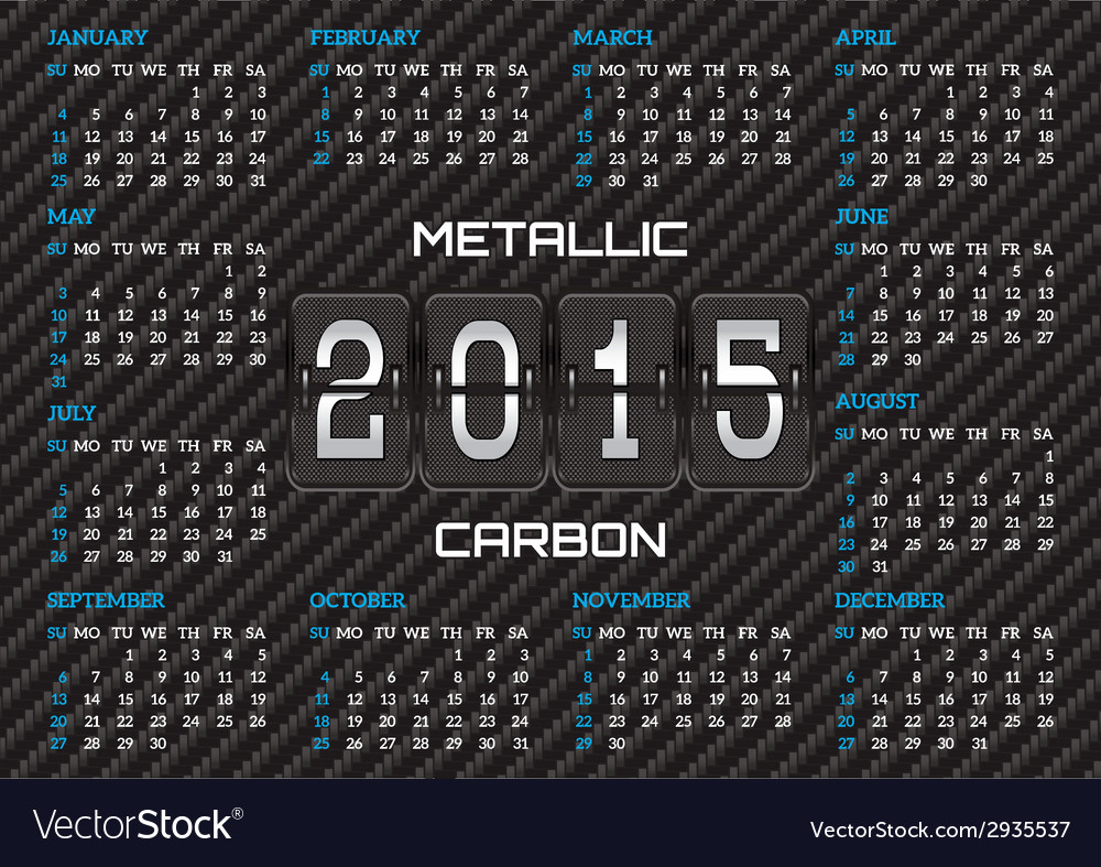 Pocket calendar template with carbon background vector | Price: 1 Credit (USD $1)