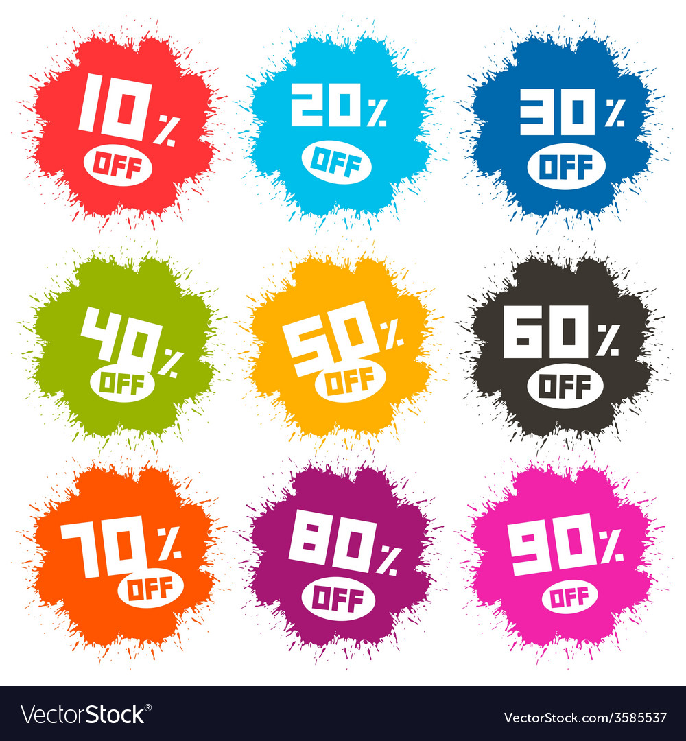 Splash discount labels set isolated on white vector | Price: 1 Credit (USD $1)