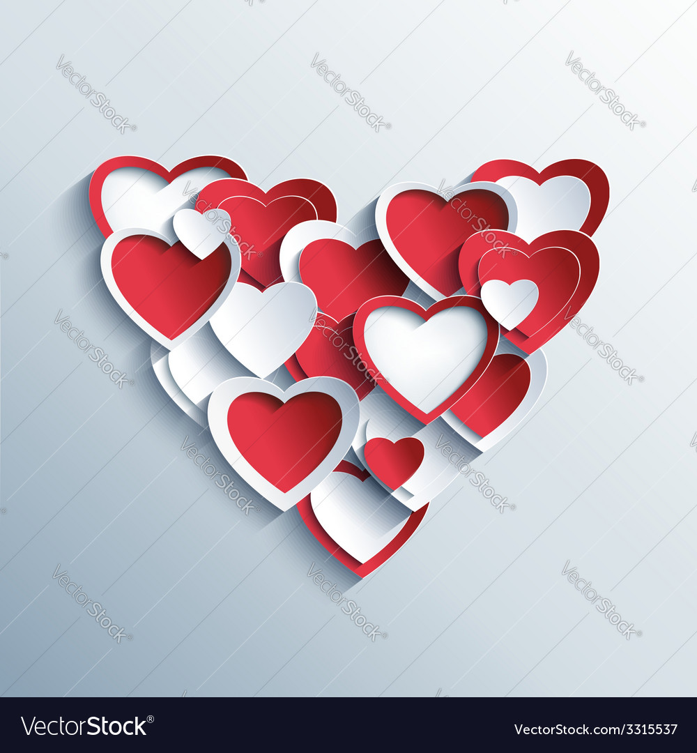 Valentines day card with red and white 3d hearts vector | Price: 1 Credit (USD $1)
