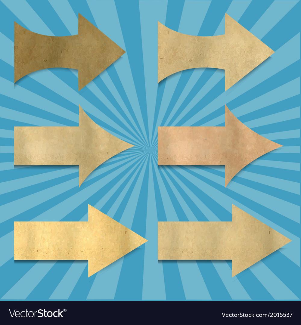 Vintage sunburst paper with arrows set vector | Price: 1 Credit (USD $1)