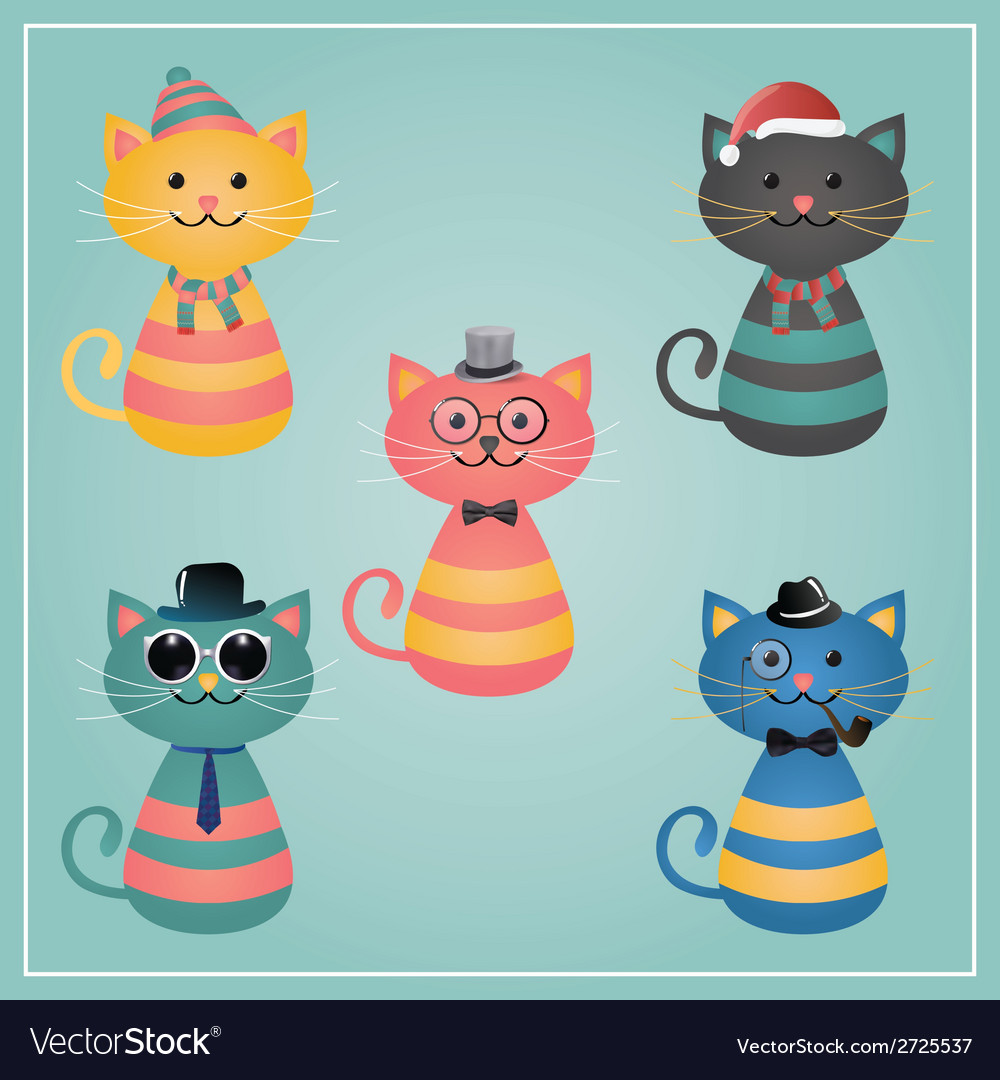 Winter hipster cats vector | Price: 1 Credit (USD $1)