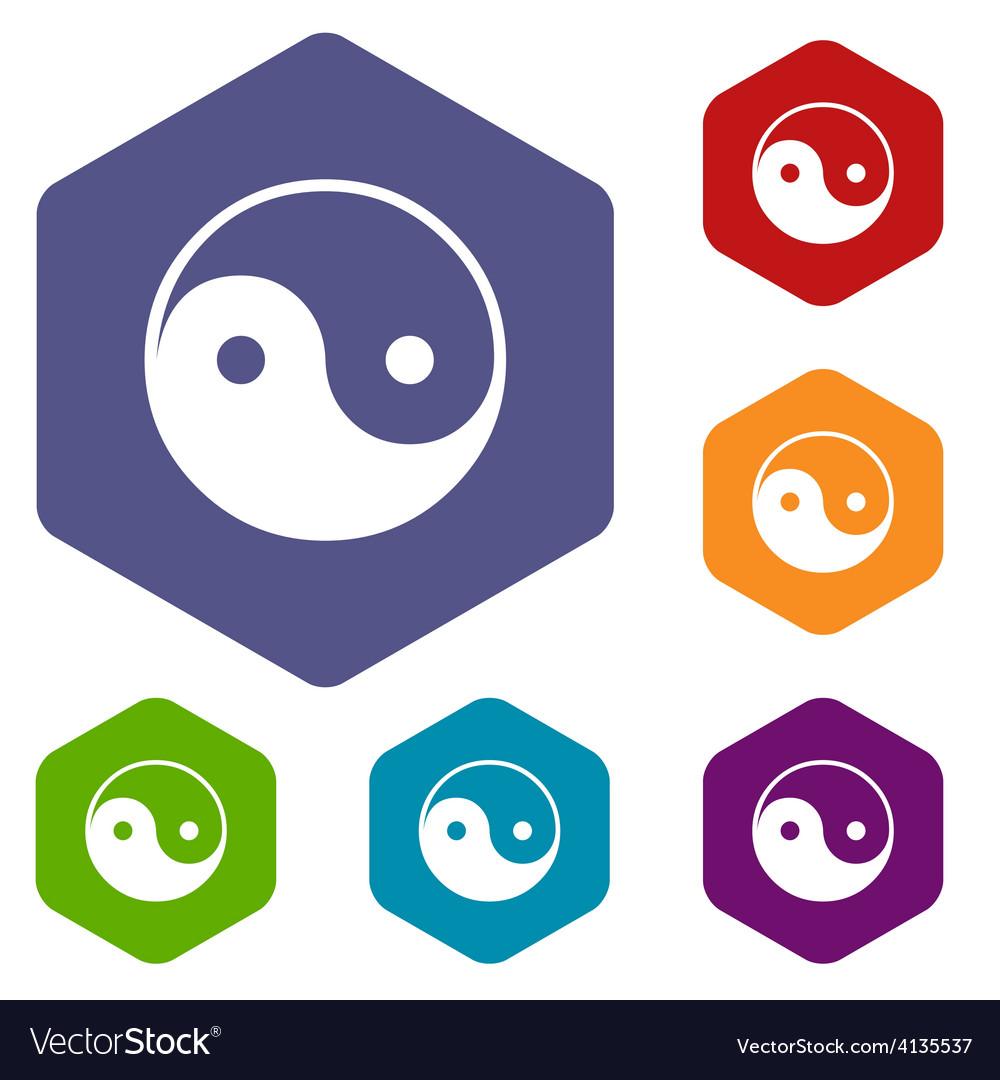 Yin yang rhombus icons vector | Price: 1 Credit (USD $1)