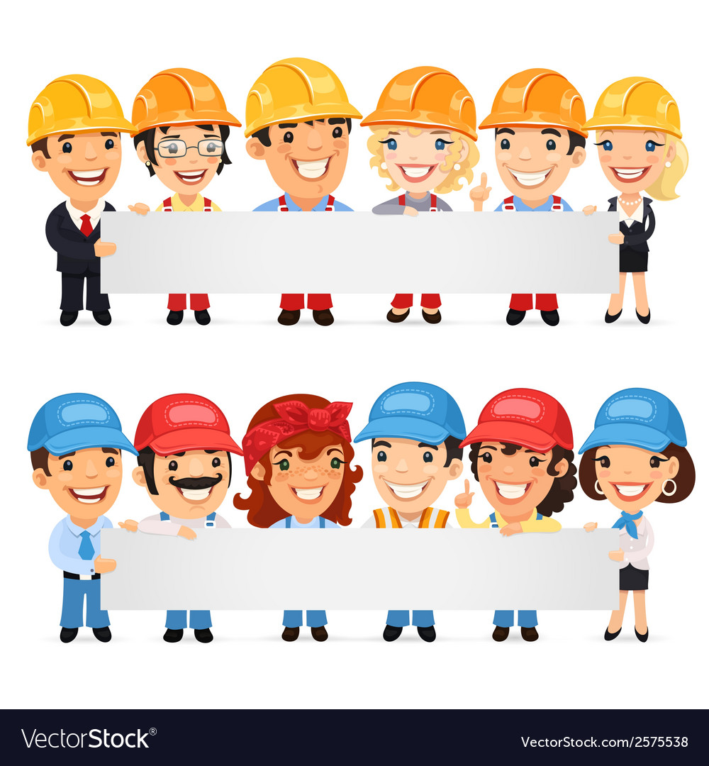 Builders presenting empty horizontal banner vector | Price: 1 Credit (USD $1)