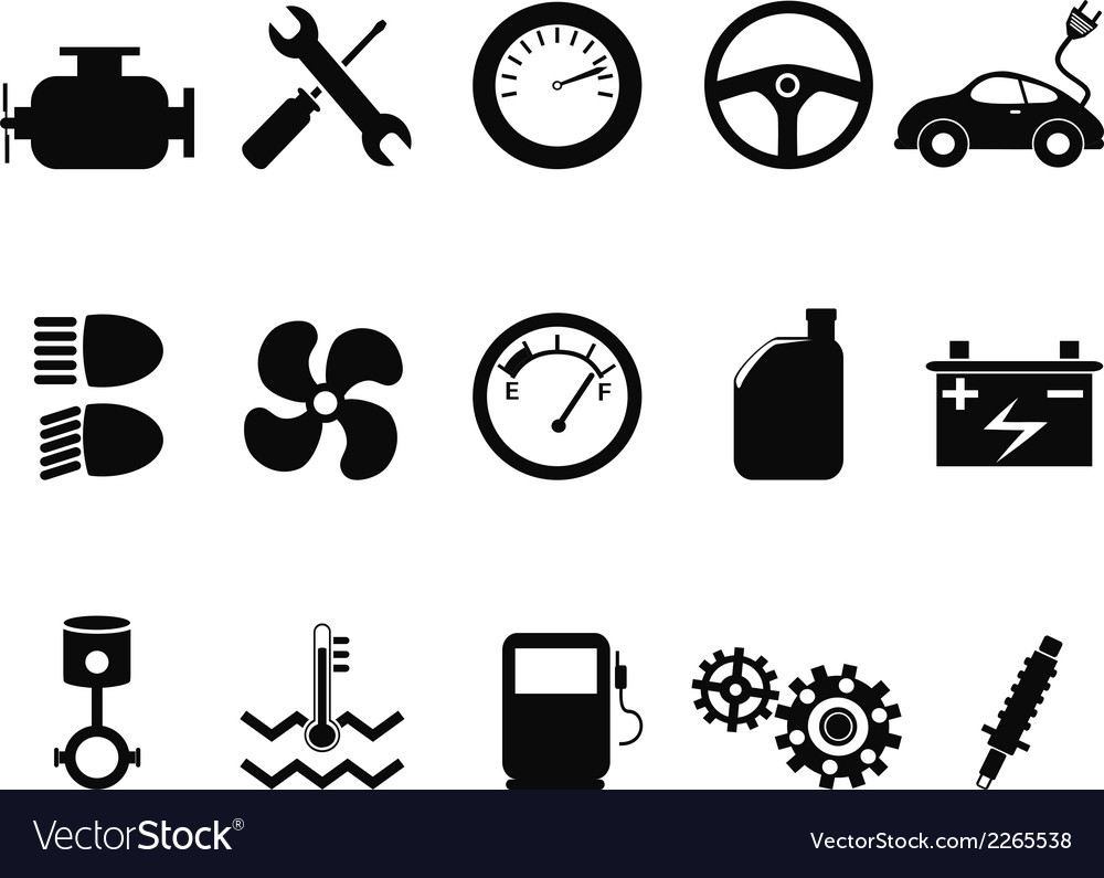 Car engine icons set vector | Price: 1 Credit (USD $1)