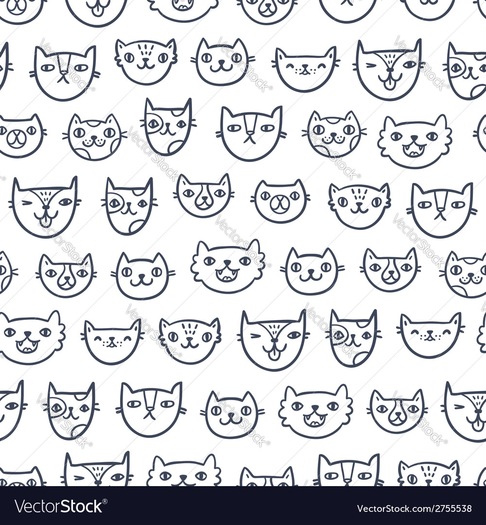 Cat faces seamless pattern vector | Price: 1 Credit (USD $1)