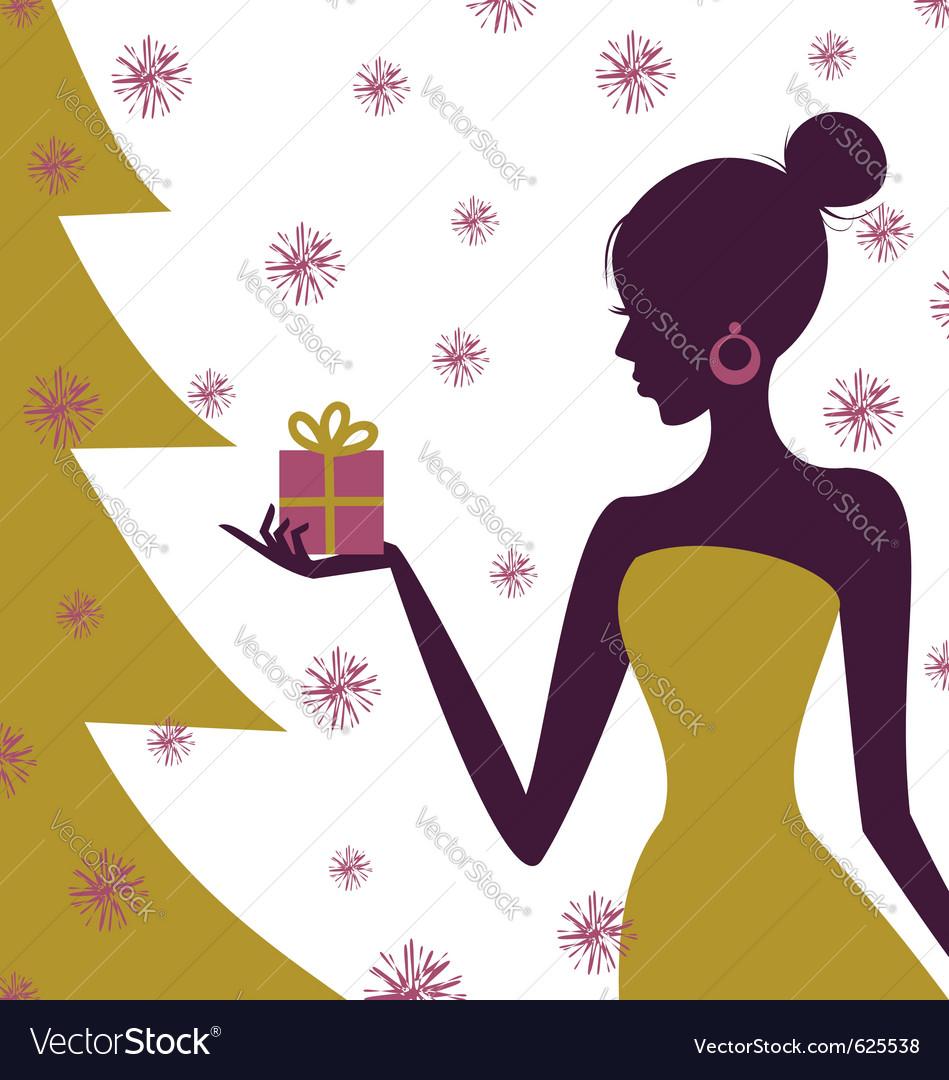 Christmas gift girl vector | Price: 1 Credit (USD $1)