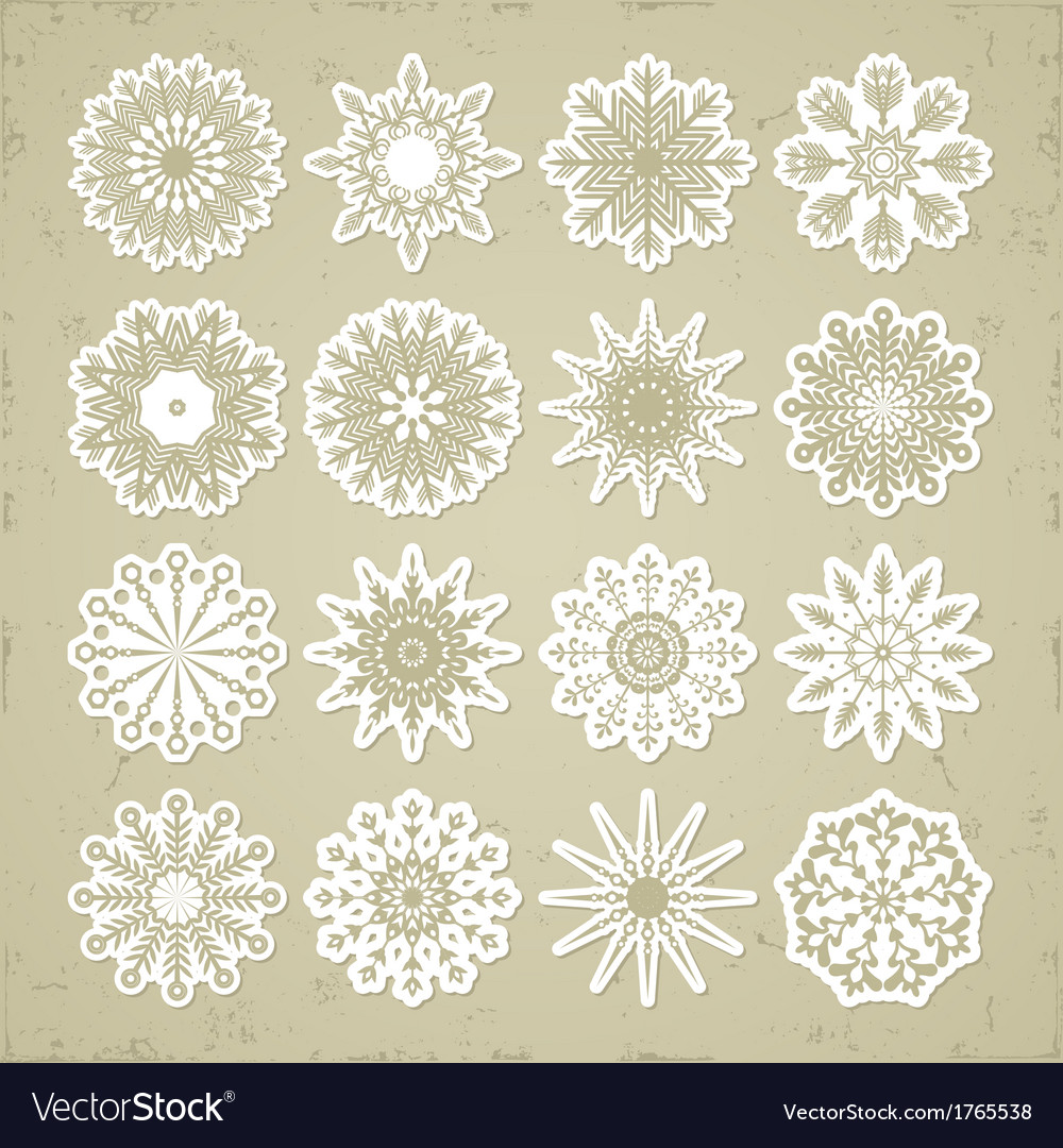 Christmas snowflakes - stickers vector | Price: 1 Credit (USD $1)