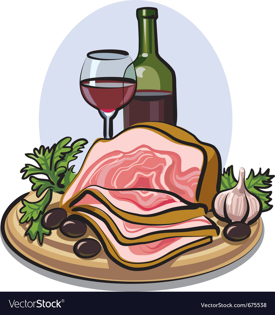 Fresh bacon and red wine vector | Price: 3 Credit (USD $3)