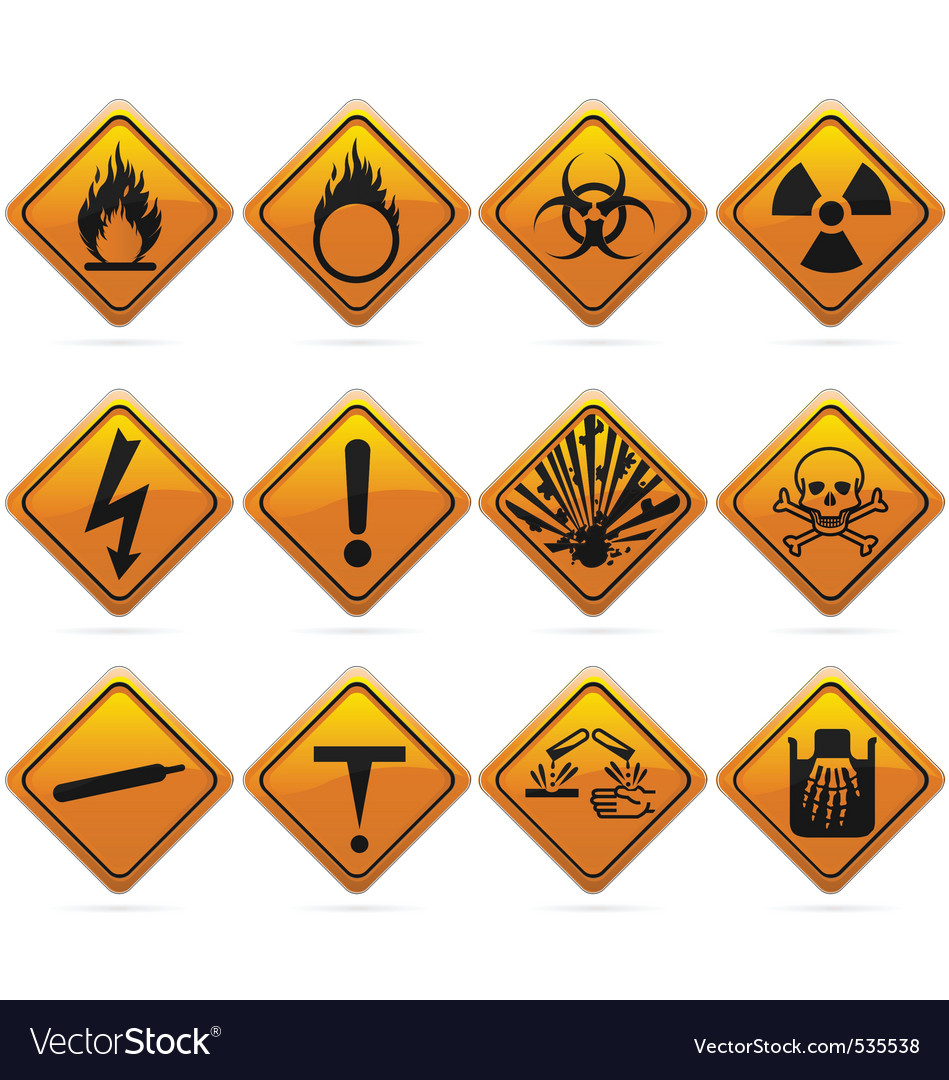 Glossy diamond hazard signs vector | Price: 1 Credit (USD $1)