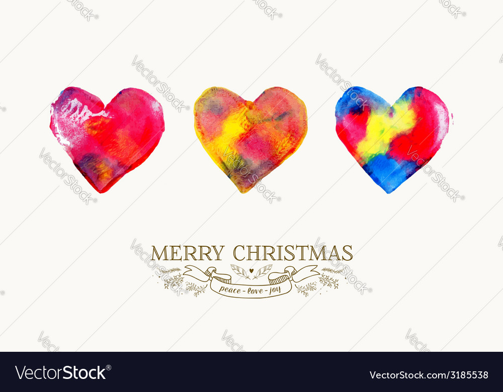 Merry christmas love watercolor vintage card vector | Price: 1 Credit (USD $1)