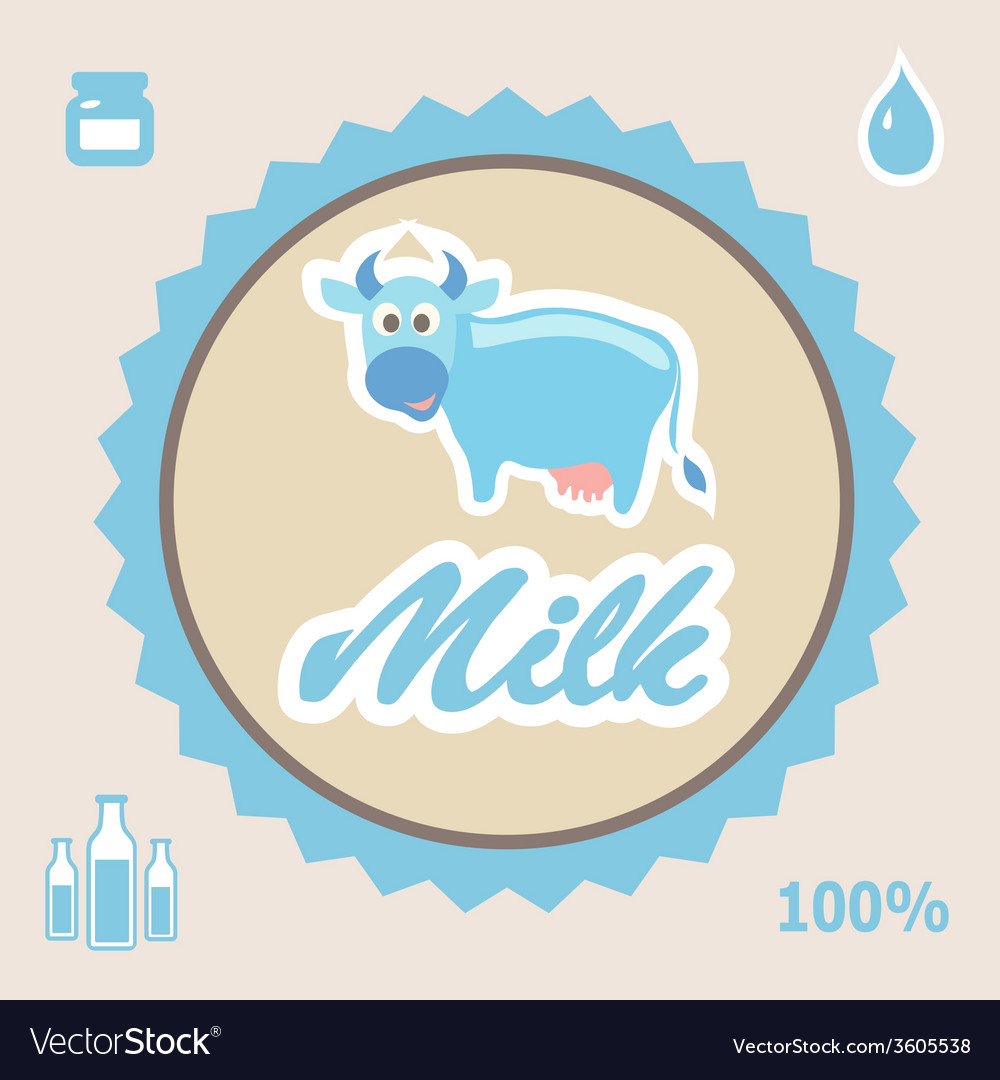 Milk label with cow - vector | Price: 1 Credit (USD $1)