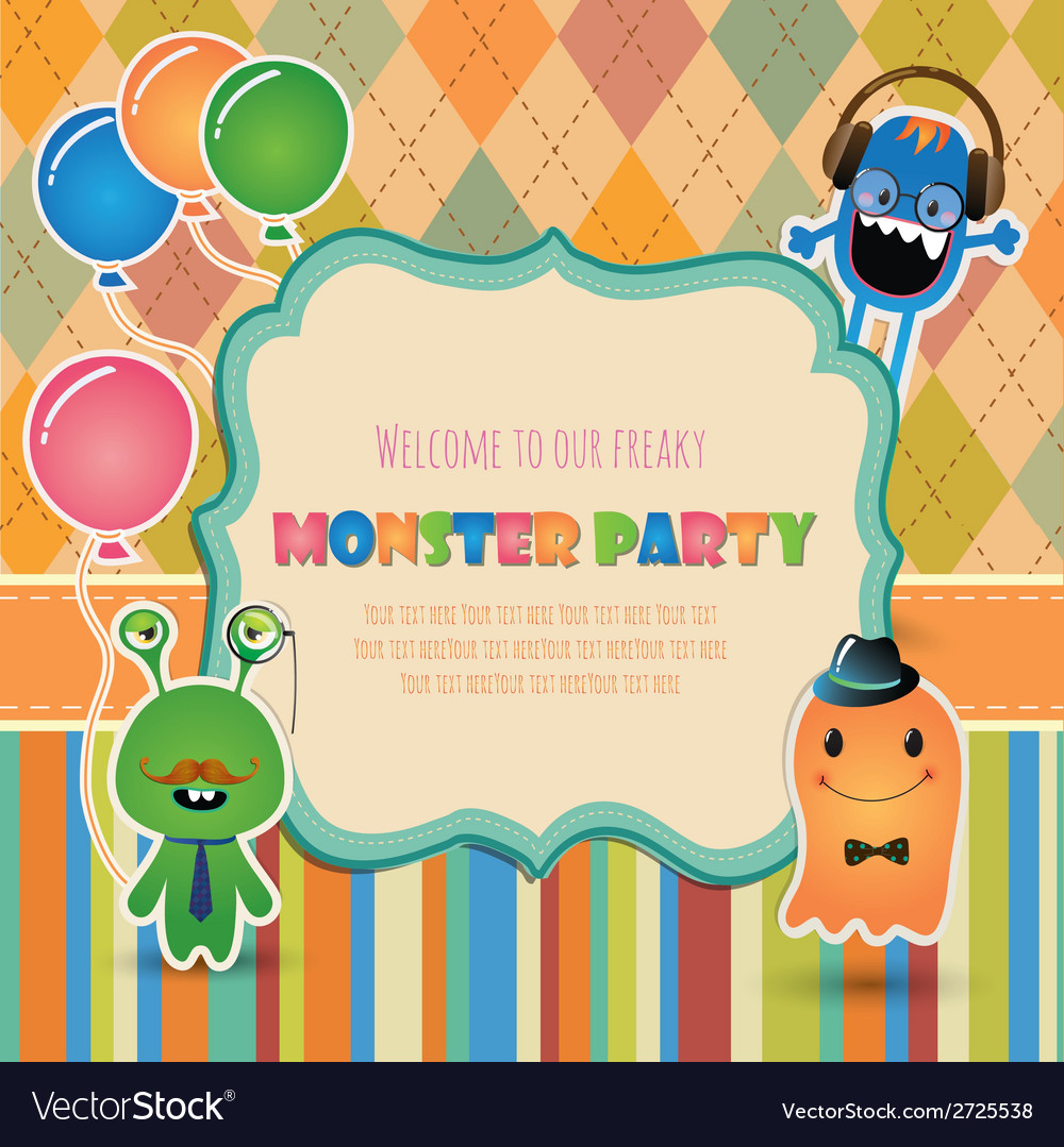Monster party invitation card design vector | Price: 1 Credit (USD $1)