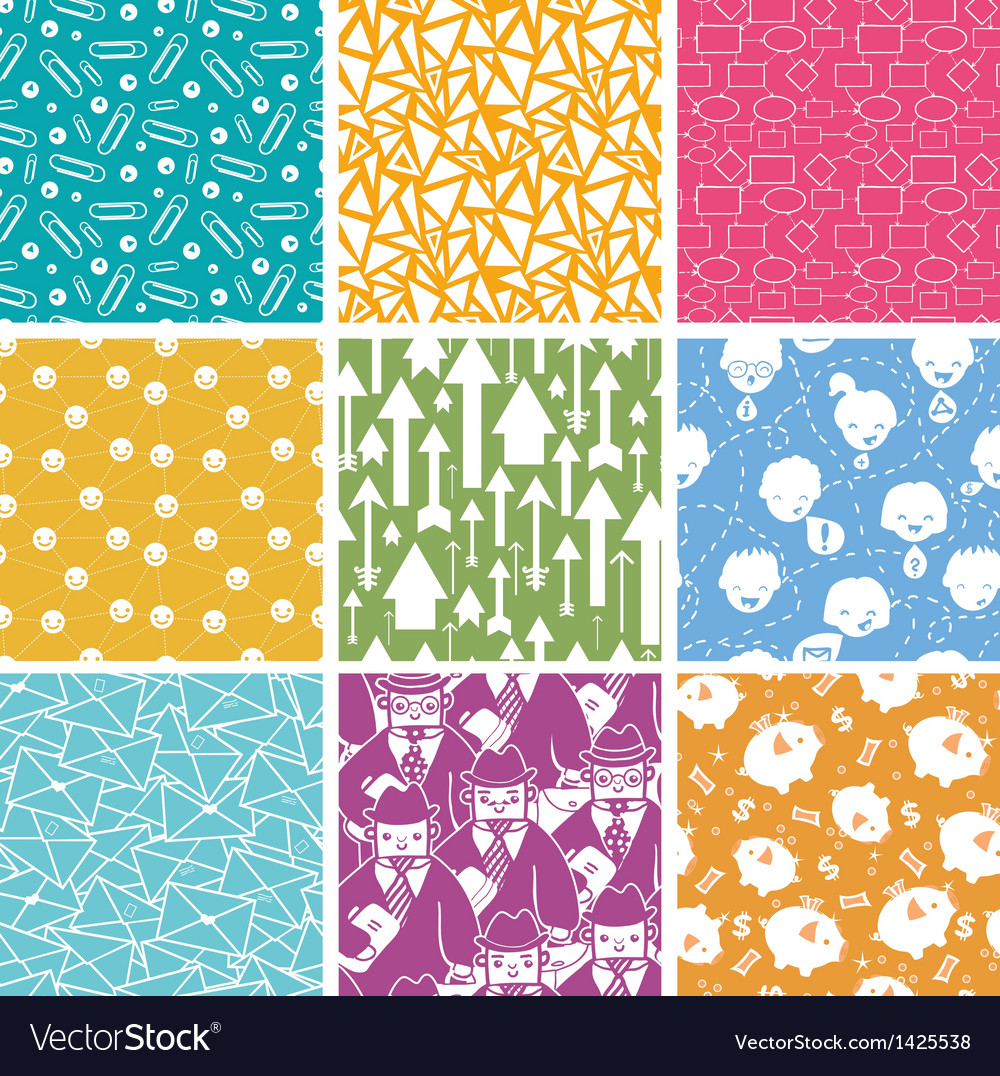 Set of nine business seamless patterns backgrounds vector | Price: 1 Credit (USD $1)