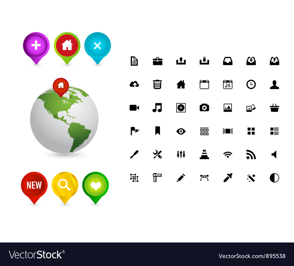 Web colored pins and earth symbols vector | Price: 3 Credit (USD $3)