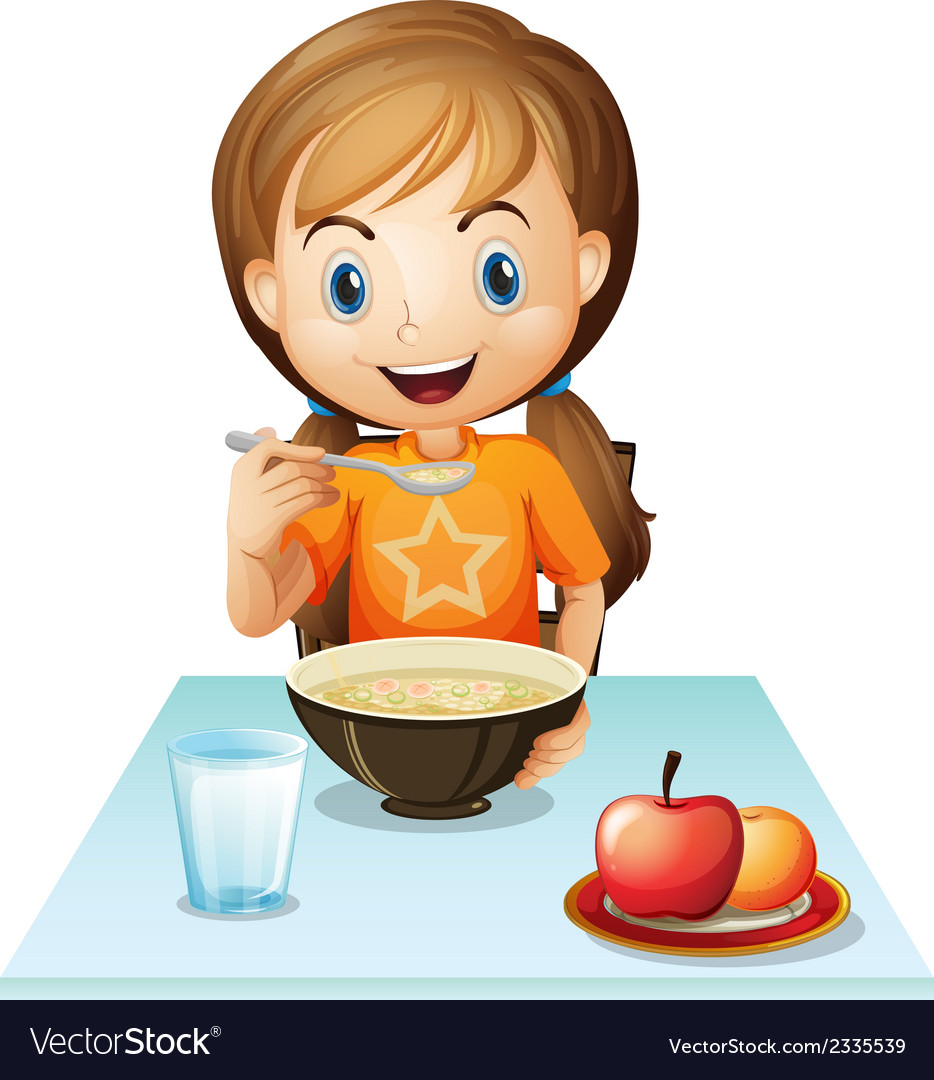 A smiling girl eating her breakfast vector | Price: 3 Credit (USD $3)
