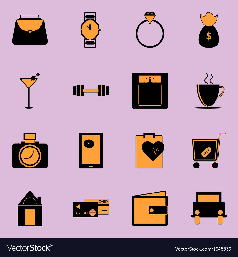 Adult lifestyle black and orange color icons vector | Price: 1 Credit (USD $1)
