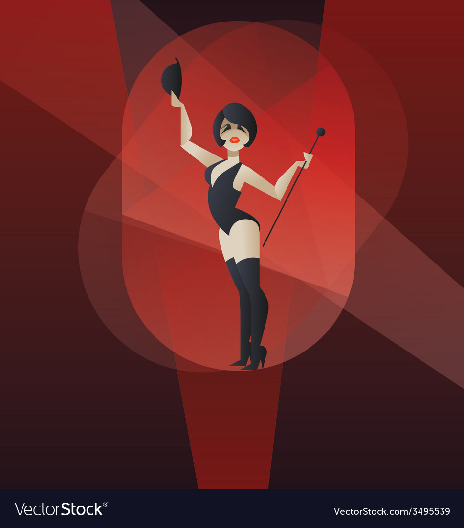 Art deco poster design cabaret burlesque dancer vector | Price: 1 Credit (USD $1)