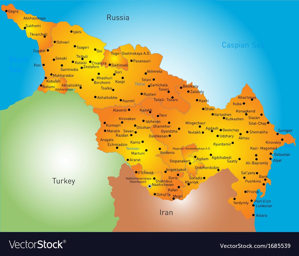 Caspian region countries vector | Price: 1 Credit (USD $1)