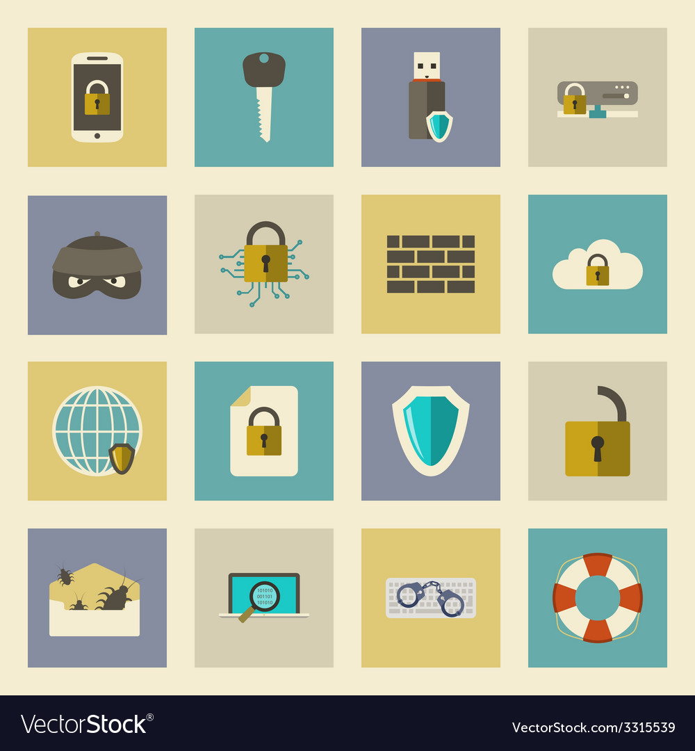 Cyber defense flat icons set vector | Price: 1 Credit (USD $1)