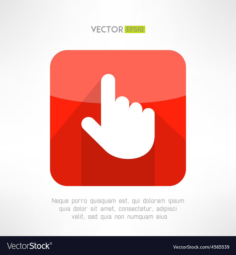 Finger pointer in modern flat design click button vector | Price: 1 Credit (USD $1)