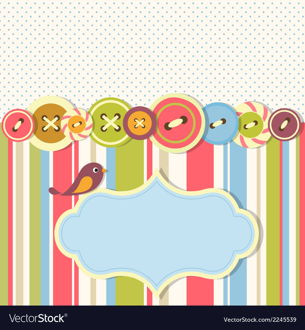 Frame with sewing buttons and bird vector | Price: 1 Credit (USD $1)