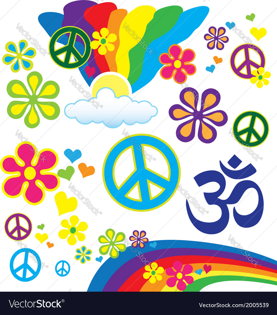 Hippy elements vector