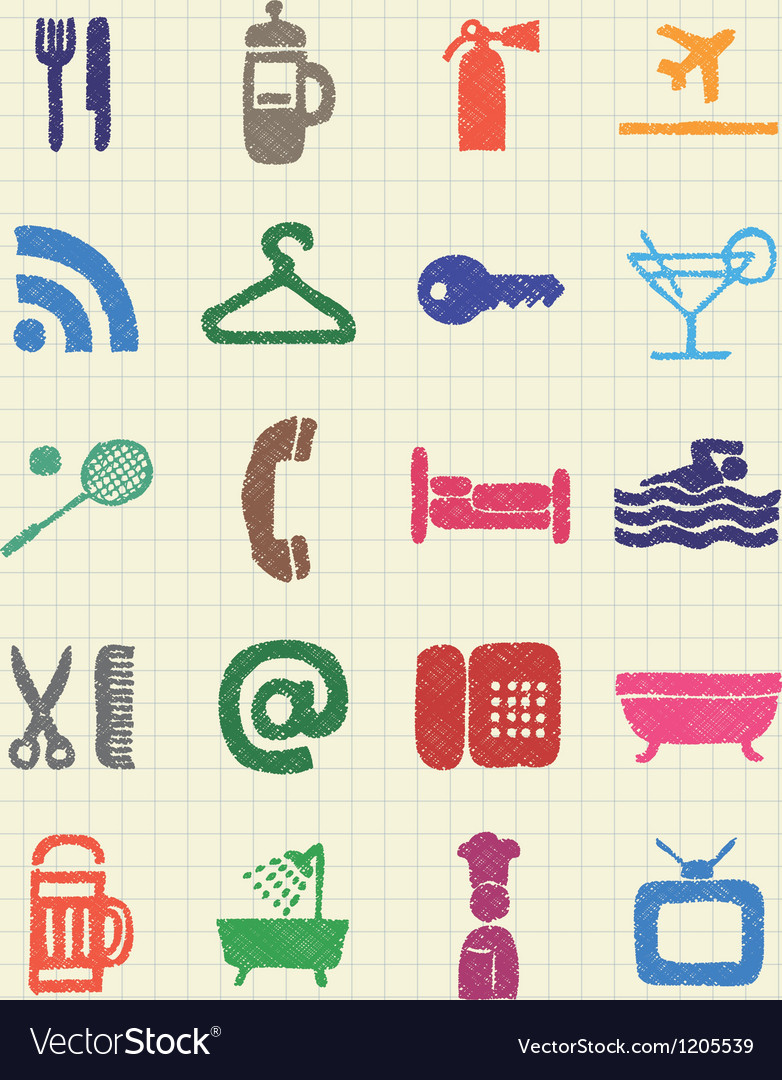 Hotel and service web icons set vector | Price: 1 Credit (USD $1)