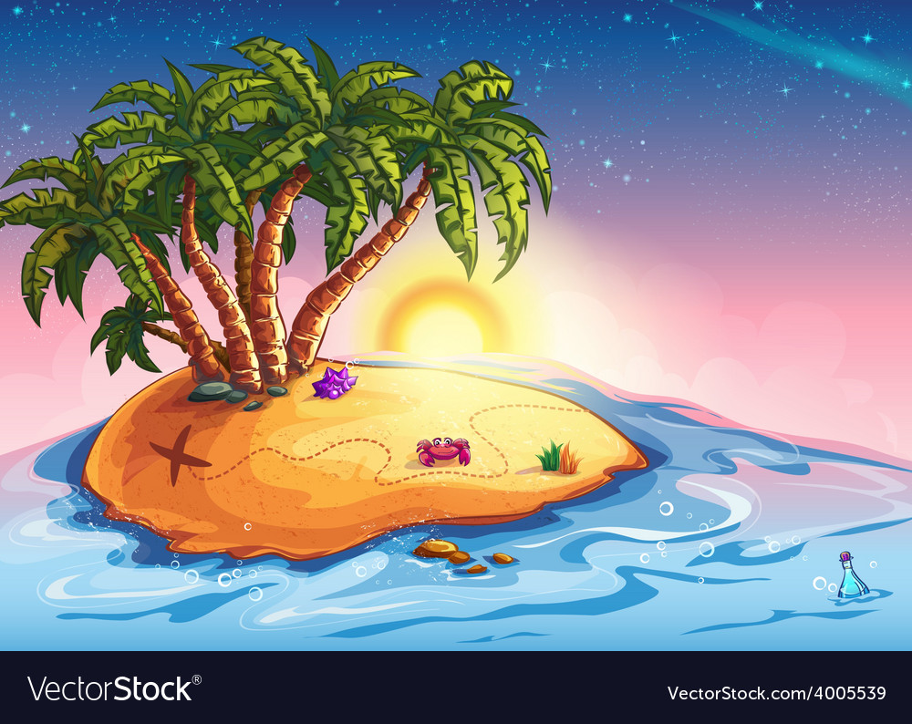 Island with palm trees and treasure vector | Price: 5 Credit (USD $5)