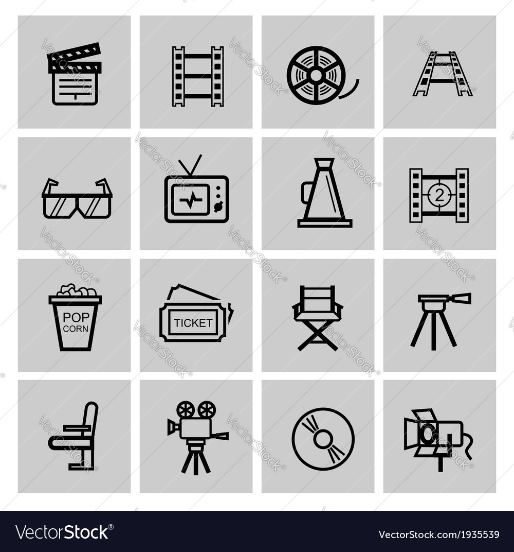 Movie icon set vector   Price: 1 Credit (USD $1)