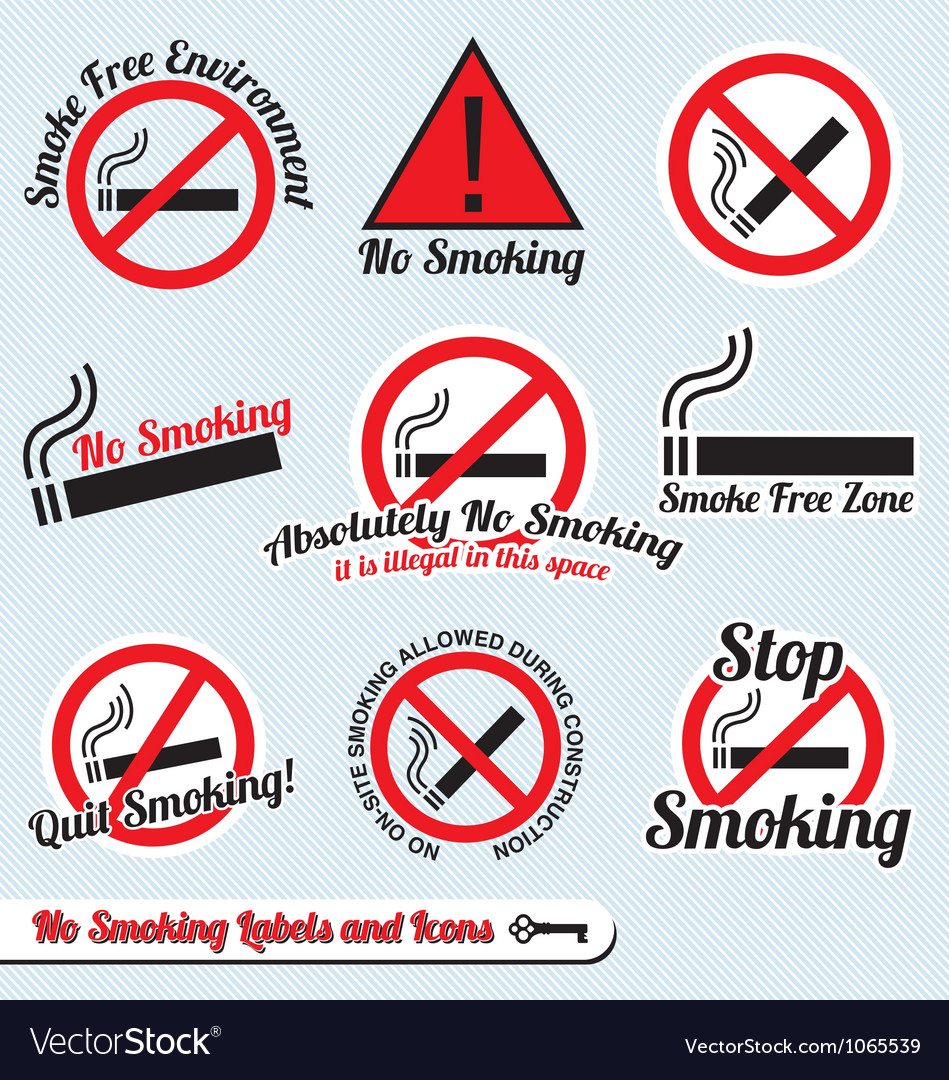 No smoking sign labels and icons vector | Price: 1 Credit (USD $1)